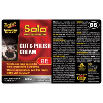 Meguiar's® Secondary Label - M86 Mirror Glaze® Solo™ Cut & Polish Cream